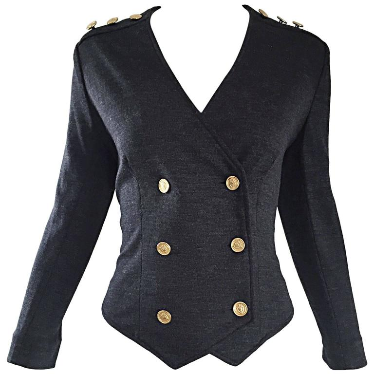 Vintage Nina Ricci Couture Charcoal Grey Double Breasted Wool Cardigan Jacket
