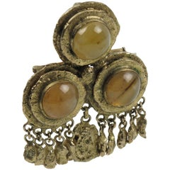 French Henry Perichon Medieval Gilt Bronze Pin Brooch with Agate Cabochon
