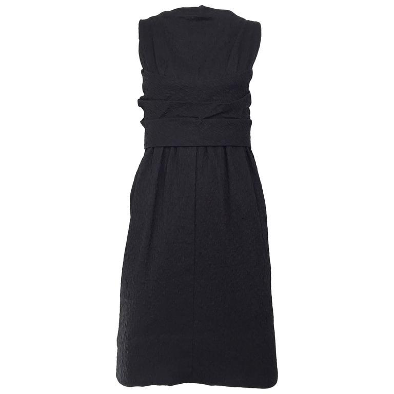 Givenchy Haute Couture Vintage Black Silk Cocktail Dress, 1960s