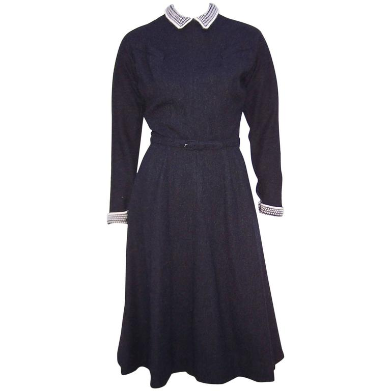 School Girl Style 1950's Charcoal Gray Wool Dress With Angora Details 1