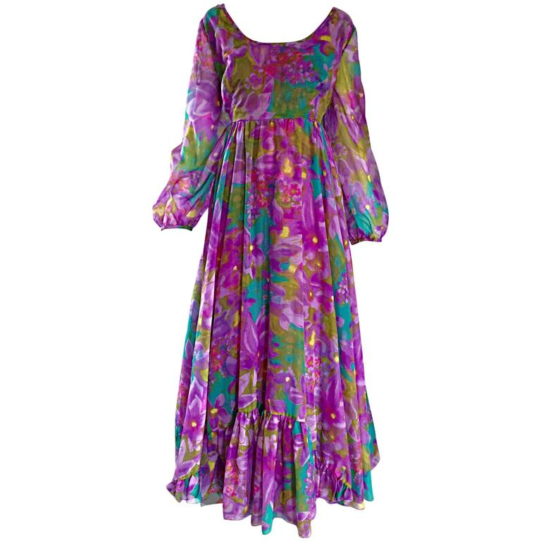 Plus Size Vintage Mr Blackwell Gorgeous 1970s Size 22 Chiffon Maxi Dress Gown