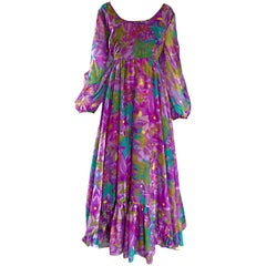 Plus Size Vintage Mr. Blackwell Gorgeous 1970s Size 22 Chiffon Maxi Dress Gown
