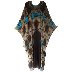 1972 Halston Tie Dye Silk Chiffon Caftan with Matching Under Dress