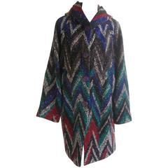 1970s Missoni Hooded Wool Car Coat