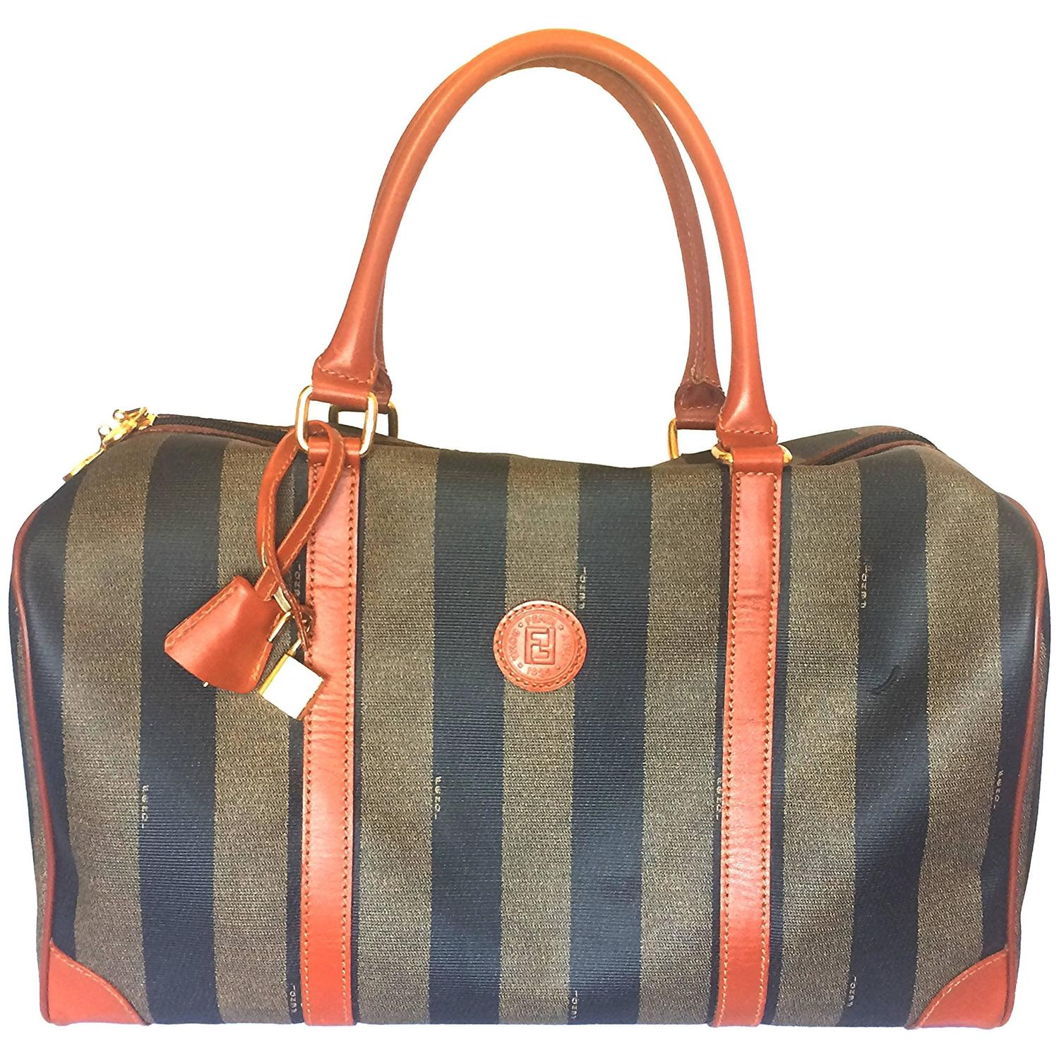 0e1b3a4f90ff Vintage FENDI pecan stripe travel bag, large purse with brown leather  trimming. at 1stdibs