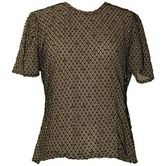 Alexander McQueen Gold Bee Beaded Black Mesh Tulle Honeycomb Top
