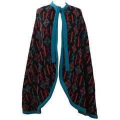 Giorgio Sant'Angelo Knits Cape Poncho Black Red Blue Geometric Knit