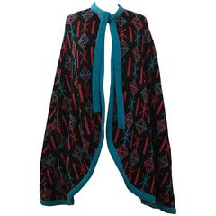 Giorgio Sant'Angelo Knits 1970s Knit Cape Poncho Black Red Blue Geometric Desi