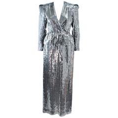 ESTEVEZ Silver Sequin and Velvet Gown Peplum Size 2
