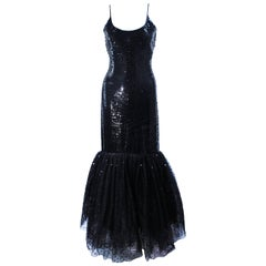 JILL RICHARDS Black Sequin Gown with Tulle Sequin Hem Size 4