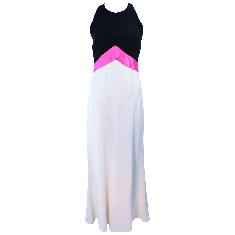 ELIZABETH ARDEN Black Pink Cream Gown with Satin Bow Bias Skirt Size 8