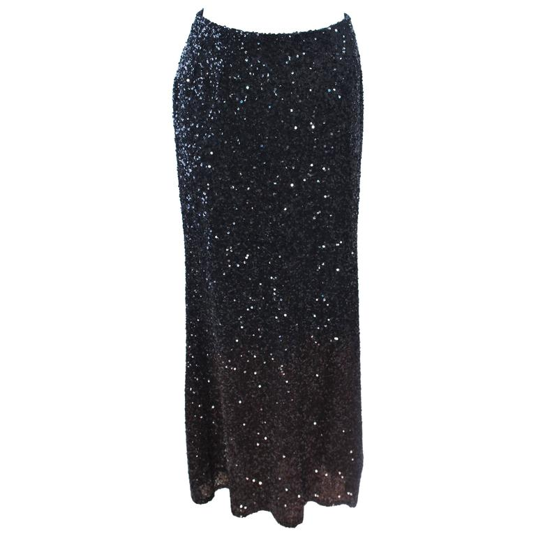 BILL BLASS Black and Brown Sequin Ombre Skirt Size 6 For Sale