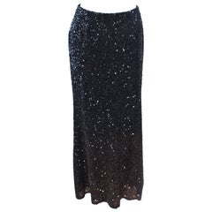 BILL BLASS Black and Brown Sequin Ombre Skirt Size 6