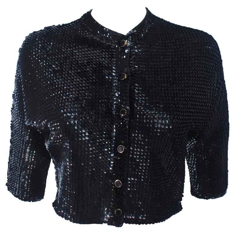 1960's Black Sequin Wool Cardigan with Black Faceted Buttons Size 4 For Sale