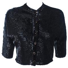 1960's Black Sequin Wool Cardigan with Black Faceted Buttons Size 4