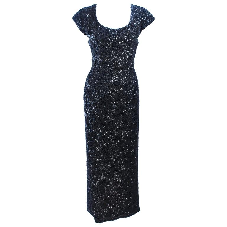 BRUCE ARNOLD 1960\'s Black Hand-Beaded Gown Size 6 For Sale at 1stdibs