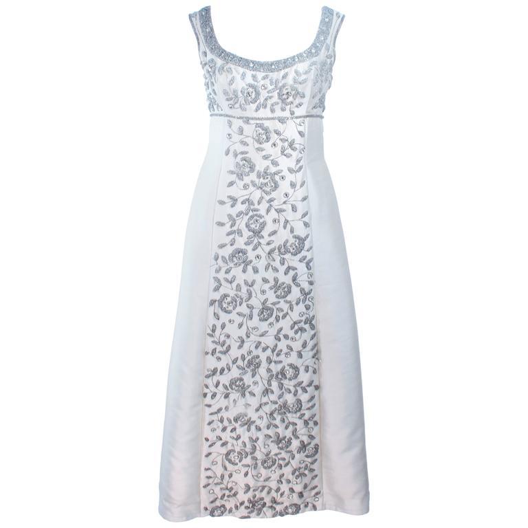 LILLIE RUBIN 1960's Off White Raw Silk Gown with Rhinestone Embellishment Size 4