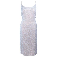 SWEE LO HAUTE COUTURE INTERNATIONAL Ivory Iridescent Cocktail Dress Size 8 10