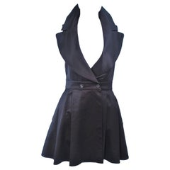 CLAUDE MONTANA Black Double Breasted Collared Mini Dress Size 4