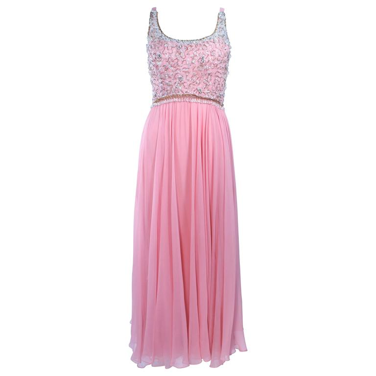 I. MAGNIN 1960's Hand Beaded Pink Chiffon Gown Size 4