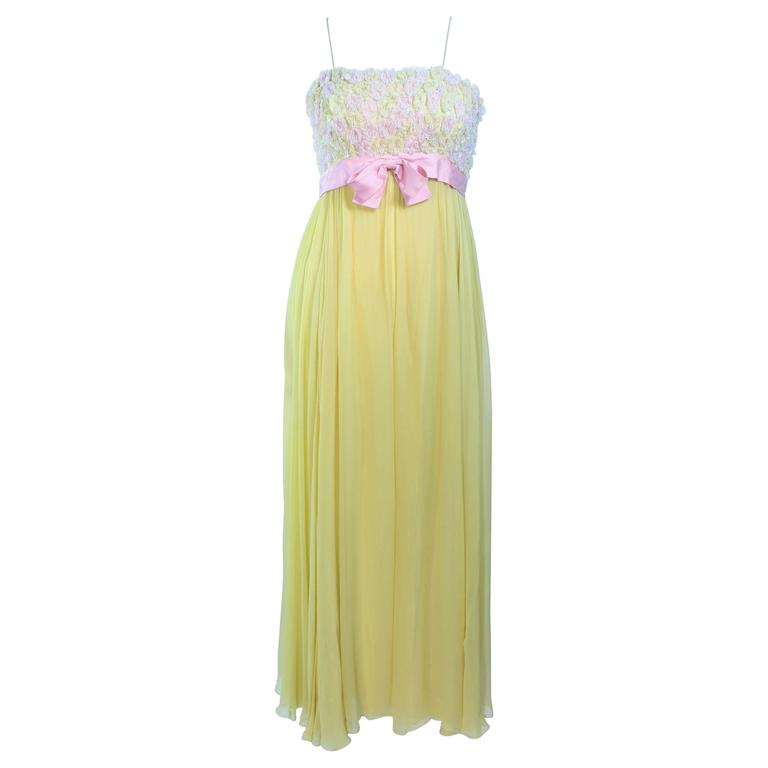 VICTORIA ROYAL Embellished Yellow Silk Gown Size 4