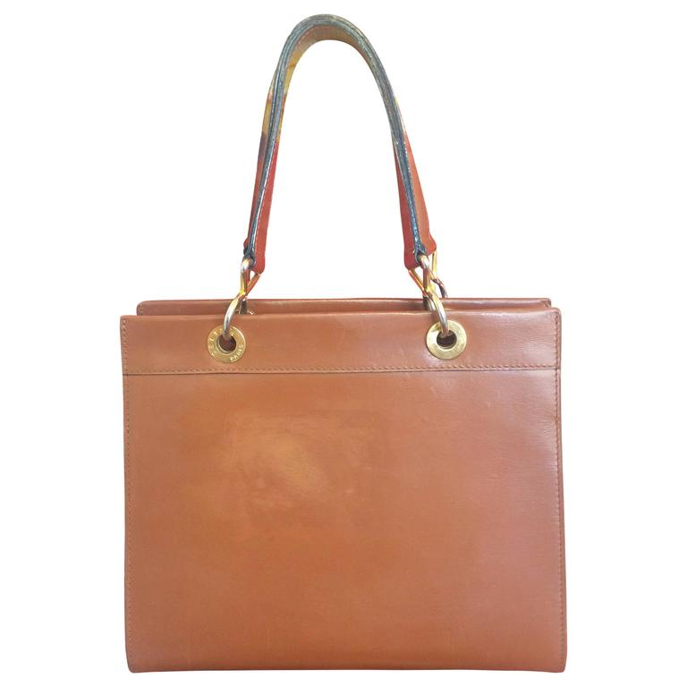 Vintage CELINE brown classic square tote bag, golden chain and leather straps For Sale