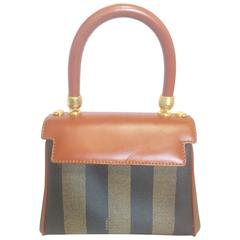 Vintage FENDI kelly bag style mini handbag in pecan stripes and brown leather