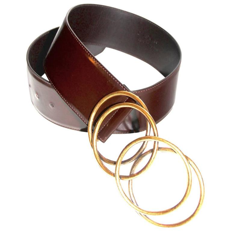 Yves Saint Laurent Brown Glossy Leather Belt - Vintage  1
