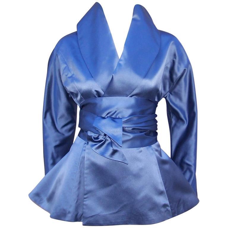 1980's Ralph Lauren Periwinkle Blue Silk Satin Peplum Jacket With Obi Sash For Sale