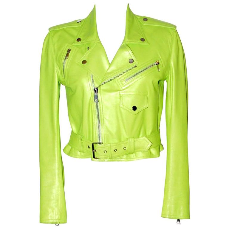 Ralph Lauren Neon Green Leather Biker Jacket - US 4 - Pristine Condition 1