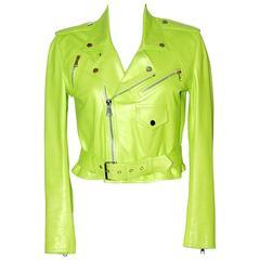 RALPH LAUREN Neon Green Leather Biker Jacket