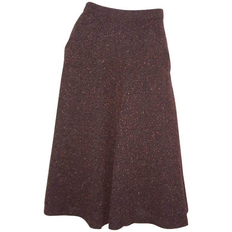 1970's Yves Saint Laurent Nubby Wool Autumnal Brown Tweed Skirt