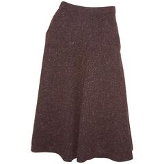 1970's Yves Saint Laurent Nubby Wool Autumnal Brown Tweed Skirt