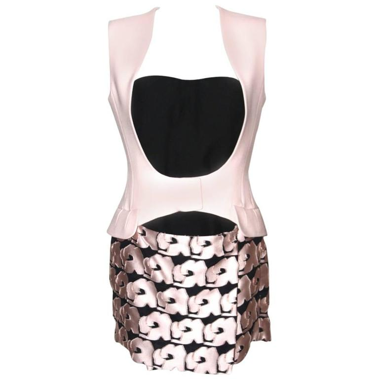 CHRISTIAN DIOR Runway Collection Pale Pink and Black Bustier and Dress  For Sale