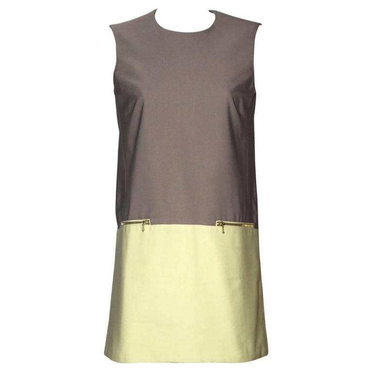 Victoria Beckham Sleeveless Shift Dress Crew Neckline Colorblock - UK 12 1