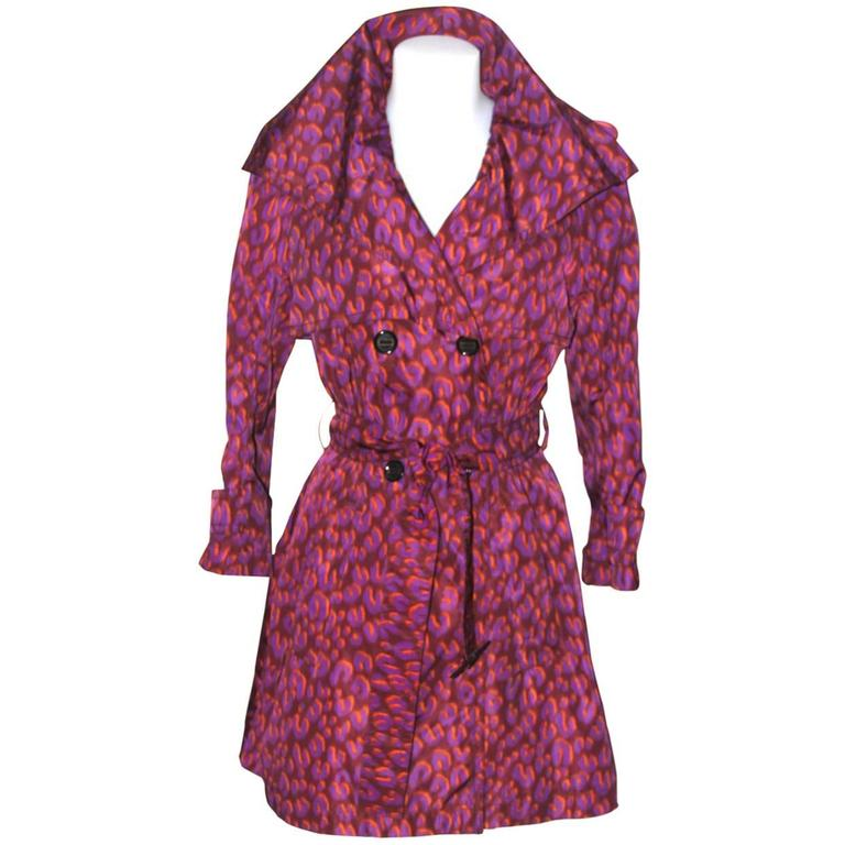 Louis Vuitton Purple Leopard Print Trench Colorful Stephen Sprouse  For Sale