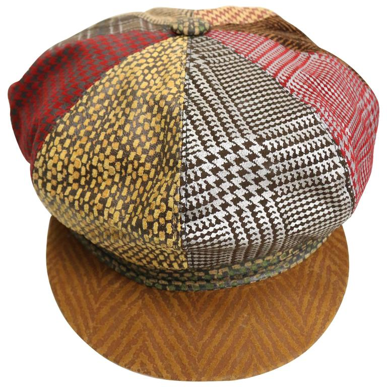 Roberto Cavalli Leather Multi Patterns Patchwork Newsboy Cap  1