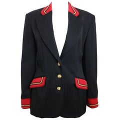 Vintage 80s Alberta Ferretti Studio Black Officer Jacket