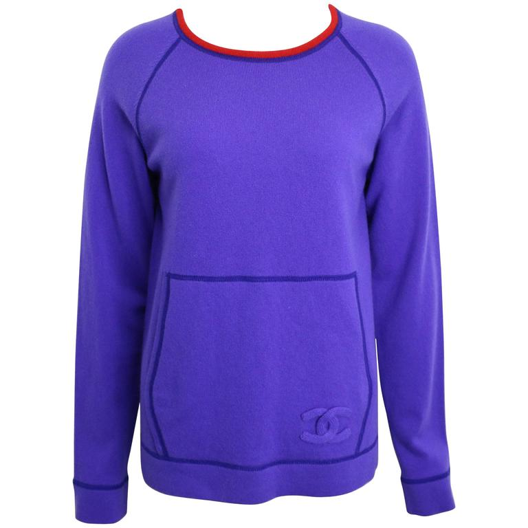 Chanel Purple with Red Trim Collar Pullover Cashmere Sweater  For Sale