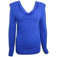 Gianni Versace Blue Drop Neckline Shoulder Padded Top