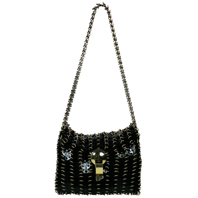 Paco Rabanne Vintage Black Discs with Gold Toned Hardware Bag