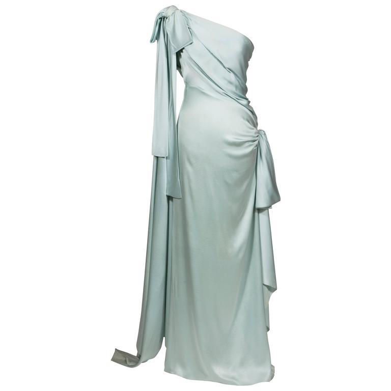 11984 Yves Saint Laurent Haute Couture Silk Satin Blue Draped Dress ...