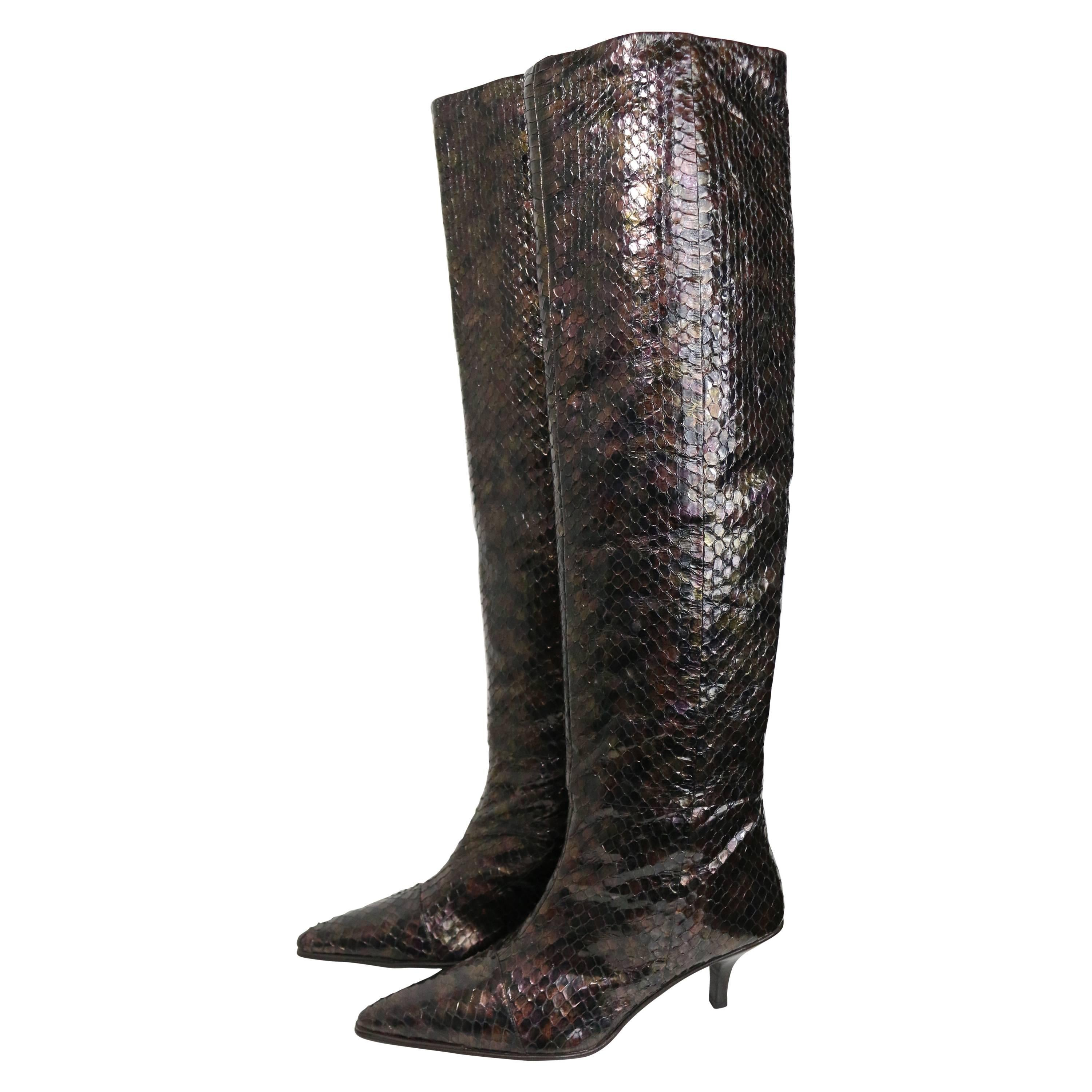 Vintage Gucci by Tom Ford Multi Coloured Python Snakeskin Slip On Long Boots
