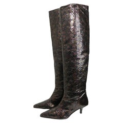 Gucci by Tom Ford Multi Coloured Python Snakeskin Slip On Long Boots