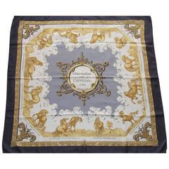 Hermes Silk Scarf Courbettes et Cabrioles 1654 Horses Blue Gold 90 cm