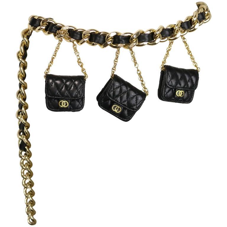 Vintage 80s Black Leather Gold Chain Link Belt For Sale