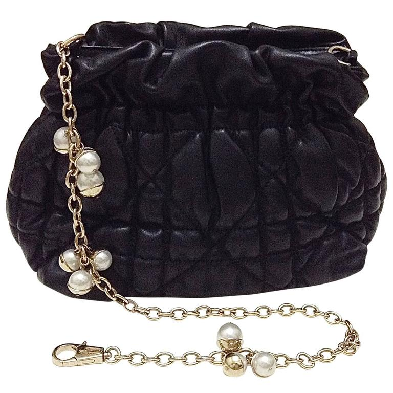 Christian Dior ゚mise En Dior Pearl Jeweled Chain Quilted
