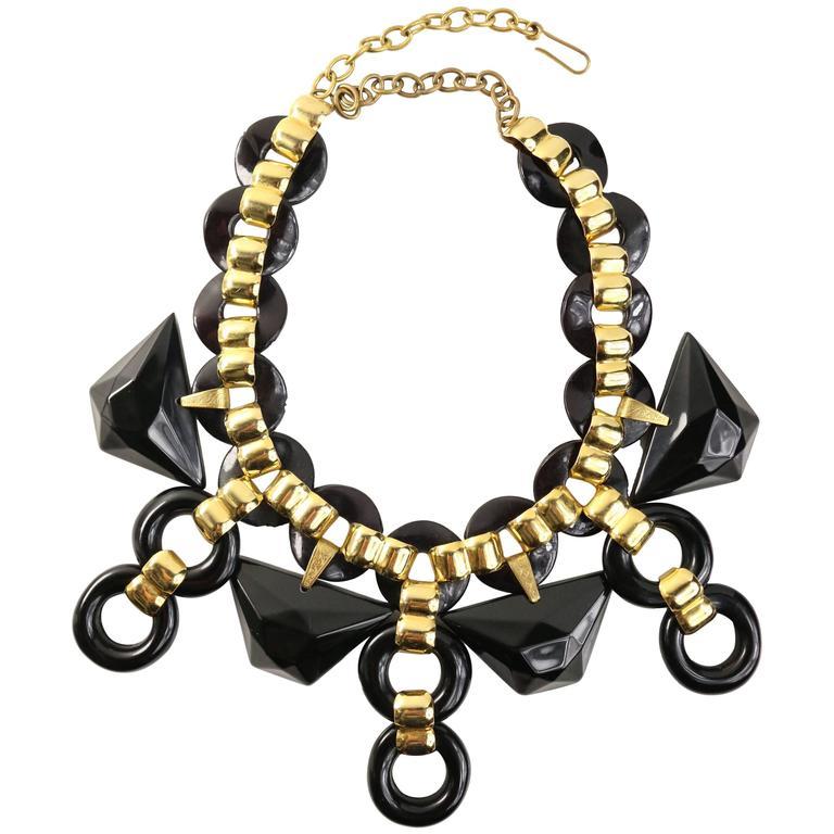 Vintage 90s Les Elise Paris Black With Gold Chain Link