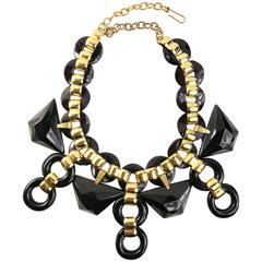 Vintage 90s Les Elise Paris Black with Gold Chain Link Necklace