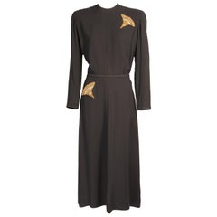 1940's Maurice Rentner Larger Size Beaded and Draped Black Crepe Dress